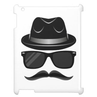 Cool Hipster with mustache, hat and sunglasses Cover For The iPad 2 3 4