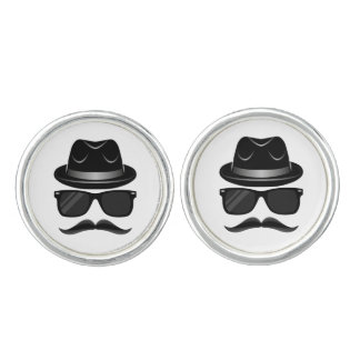 Cool Hipster with mustache, hat and sunglasses Cufflinks