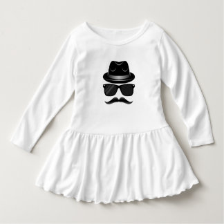 Cool Hipster with mustache, hat and sunglasses Dress