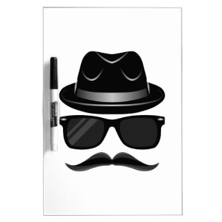 Cool Hipster with mustache, hat and sunglasses Dry Erase Boards