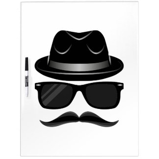 Cool Hipster with mustache, hat and sunglasses Dry Erase White Board