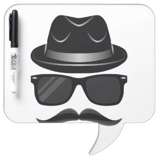 Cool Hipster with mustache, hat and sunglasses Dry-Erase Whiteboard