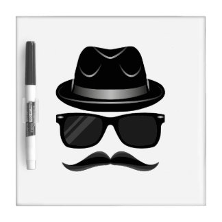 Cool Hipster with mustache, hat and sunglasses Dry Erase Whiteboard