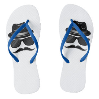 Cool Hipster with mustache, hat and sunglasses Flip Flops