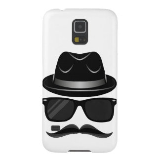 Cool Hipster with mustache, hat and sunglasses Galaxy S5 Covers