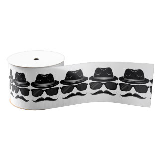 Cool Hipster with mustache, hat and sunglasses Grosgrain Ribbon