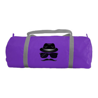 Cool Hipster with mustache, hat and sunglasses Gym Bag