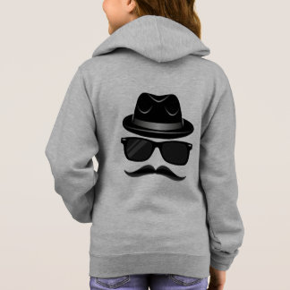 Cool Hipster with mustache, hat and sunglasses Hoodie
