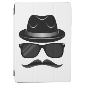 Cool Hipster with mustache, hat and sunglasses iPad Air Cover