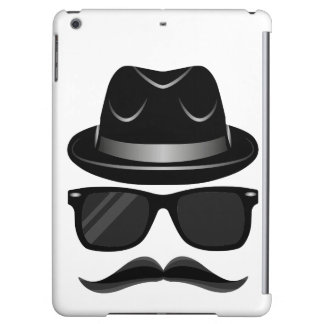 Cool Hipster with mustache, hat and sunglasses iPad Air Covers