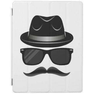 Cool Hipster with mustache, hat and sunglasses iPad Cover