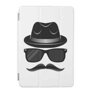 Cool Hipster with mustache, hat and sunglasses iPad Mini Cover