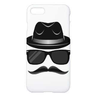 Cool Hipster with mustache, hat and sunglasses iPhone 7 Case