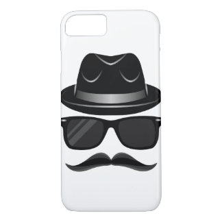 Cool Hipster with mustache, hat and sunglasses iPhone 8/7 Case