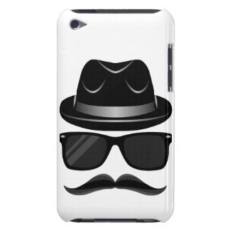 Cool Hipster with mustache, hat and sunglasses iPod Case-Mate Case