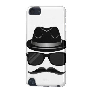 Cool Hipster with mustache, hat and sunglasses iPod Touch 5G Case
