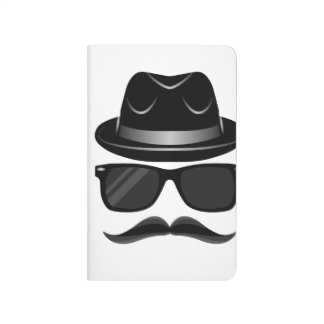 Cool Hipster with mustache, hat and sunglasses Journals