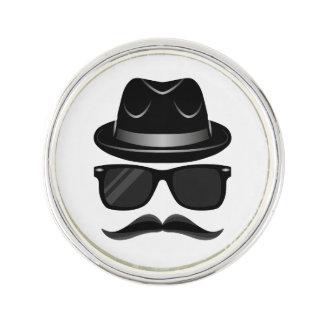 Cool Hipster with mustache, hat and sunglasses Lapel Pin