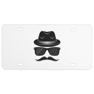 Cool Hipster with mustache, hat and sunglasses License Plate