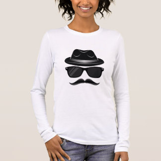 Cool Hipster with mustache, hat and sunglasses Long Sleeve T-Shirt