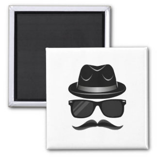 Cool Hipster with mustache, hat and sunglasses Magnet