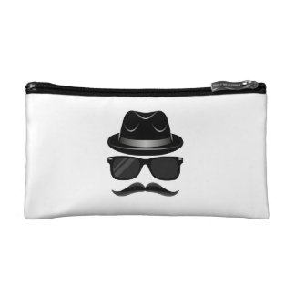 Cool Hipster with mustache, hat and sunglasses Makeup Bag