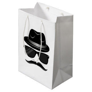 Cool Hipster with mustache, hat and sunglasses Medium Gift Bag