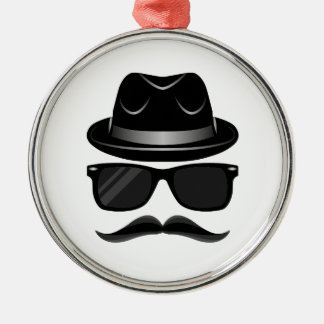 Cool Hipster with mustache, hat and sunglasses Metal Ornament