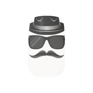Cool Hipster with mustache, hat and sunglasses Minx Nail Art