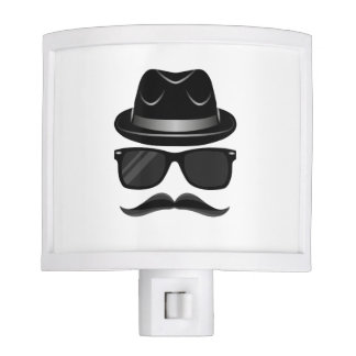 Cool Hipster with mustache, hat and sunglasses Night Lites