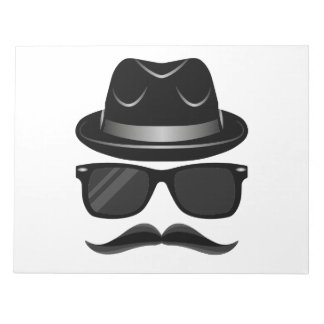 Cool Hipster with mustache, hat and sunglasses Notepad