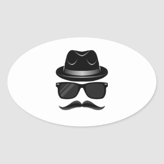 Cool Hipster with mustache, hat and sunglasses Oval Sticker
