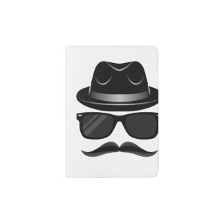 Cool Hipster with mustache, hat and sunglasses Passport Holder