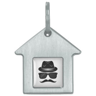 Cool Hipster with mustache, hat and sunglasses Pet ID Tag