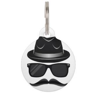 Cool Hipster with mustache, hat and sunglasses Pet Name Tag