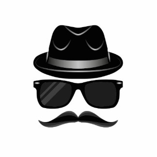 Cool Hipster with mustache, hat and sunglasses Photo Sculpture Button