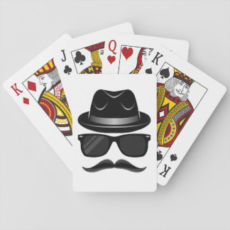 Cool Hipster with mustache, hat and sunglasses Playing Cards