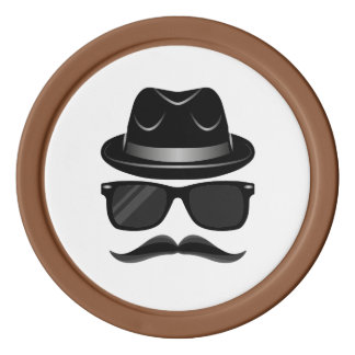 Cool Hipster with mustache, hat and sunglasses Poker Chips