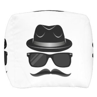 Cool Hipster with mustache, hat and sunglasses Pouf