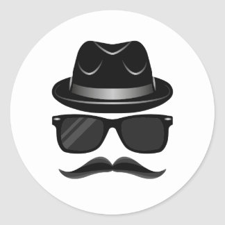 Cool Hipster with mustache, hat and sunglasses Round Sticker
