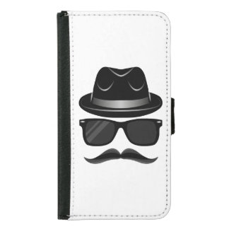Cool Hipster with mustache, hat and sunglasses Samsung Galaxy S5 Wallet Case