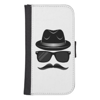 Cool Hipster with mustache, hat and sunglasses Samsung S4 Wallet Case