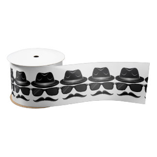 Cool Hipster with mustache, hat and sunglasses Satin Ribbon