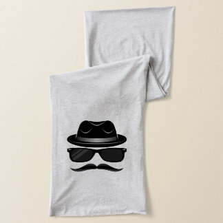 Cool Hipster with mustache, hat and sunglasses Scarf