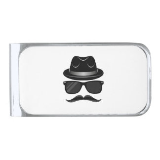Cool Hipster with mustache, hat and sunglasses Silver Finish Money Clip