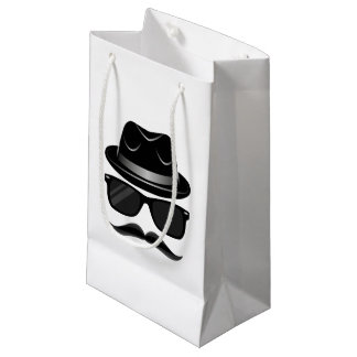 Cool Hipster with mustache, hat and sunglasses Small Gift Bag