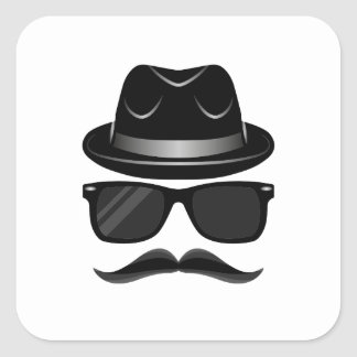 Cool Hipster with mustache, hat and sunglasses Square Sticker