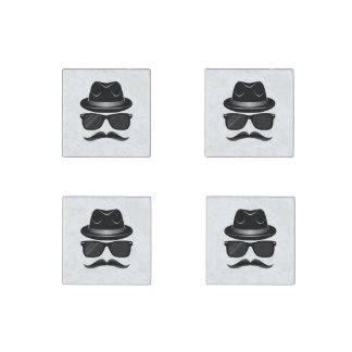 Cool Hipster with mustache, hat and sunglasses Stone Magnets
