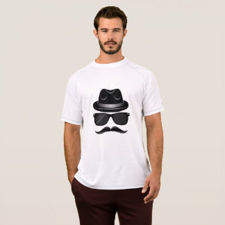 Cool Hipster with mustache, hat and sunglasses T-Shirt