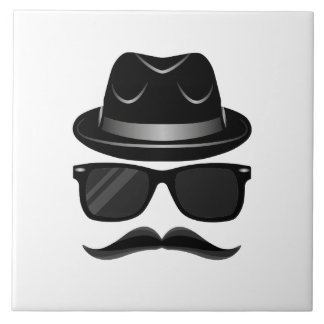 Cool Hipster with mustache, hat and sunglasses Tile